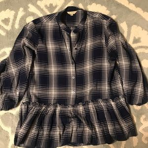 Plaid Blouse with bottom ruffle